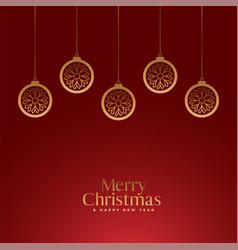 red merry christmas royal background with golden vector image