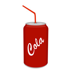 Refreshing cold soda iced soft drink can with vector