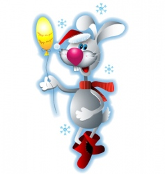 Santa rabbit vector image