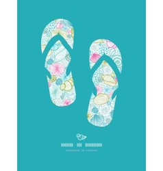 Seashells line art flip flops decor pattern vector
