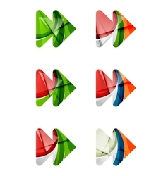 Set of abstract next play arrow icon business vector image