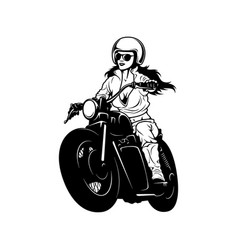 Sexy girl and vintage motorcycle - chopper vector
