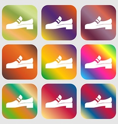 Shoe icon sign Nine buttons with bright gradients vector image