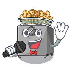 Singing cooking french fries in deep fryer cartoon vector