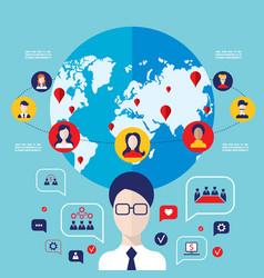 social network concept global communication vector image