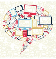 Social networks gadgets bubble vector image