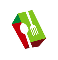 spoon and fork logo for cafe or restaurant a vector image