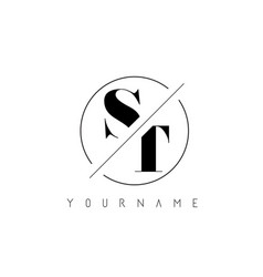St letter logo with cutted and intersected design vector