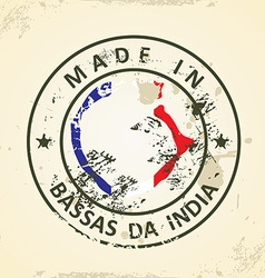 Stamp with map flag of Bassas da India vector image