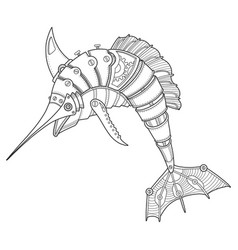 Steam punk style swordfish coloring book vector