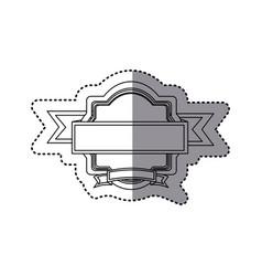sticker silhouette heraldic ornament with ribbon vector image