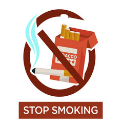 stop smoking warning sign with cigarette pack vector image