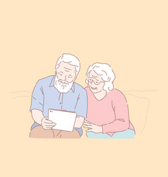 Studying tablet elderly people concept vector