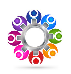 teamwork people with gear icon vector image