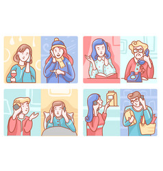 Telephone conversation set vector