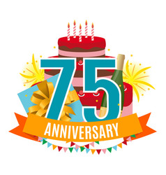 template 75 years anniversary congratulations vector image