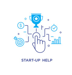 the businessman hand launches start-up achieving vector image
