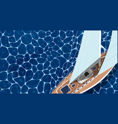 top view sail boat on water vector image