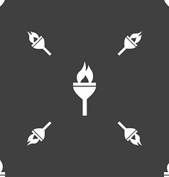 Torch icon sign Seamless pattern on a gray vector
