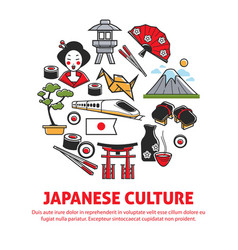 Traveling japanese culture and japan symbols vector