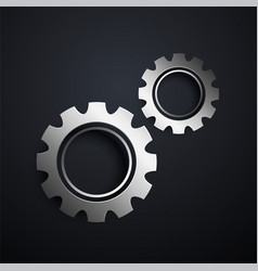 Two metallic gears setting background vector