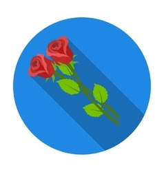 Two roses icon in flat style isolated on white vector image