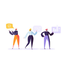 virtual reality concept flat people characters vector image