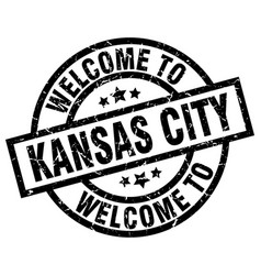 Welcome to kansas city black stamp vector