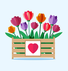 Wooden box with colored tulips vector