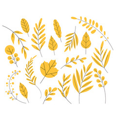 Yellow leaf in a flat style set autumn leaves vector