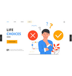 Young man facing a difficult choice vector