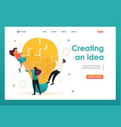 Young team creates an idea teamwork for web vector