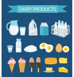 Dairy products icon set flat style milk and vector