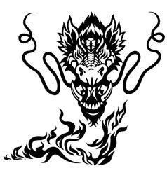 dragon head black white tattoo vector image vector image