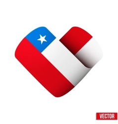 Flag icon in the form of heart I love Chile vector image vector image