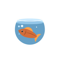 isolated fish flat icon fishbowl element vector image vector image
