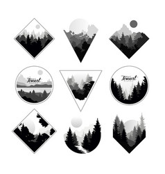 set of monochrome landscapes in geometric shapes vector image
