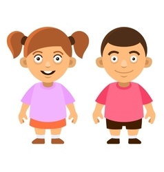 Two carroon style cute kids boy and girl on white vector