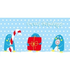 Winter holidays card with cute penguins vector image vector image