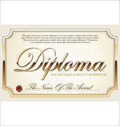 Golden certificate template vector image vector image
