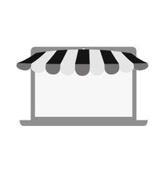 online shopping laptop sale e-commerce gray color vector image