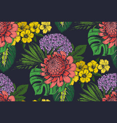 seamless pattern with compositions of hand vector image vector image