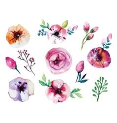 Watercolor hand drawn floral set vector