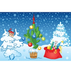 winter background with cactus vector image vector image