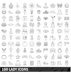 100 lady icons set outline style vector image