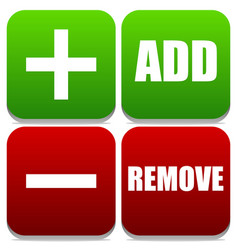 Add and remove buttons with labels and symbols vector