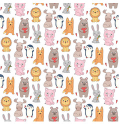 animals pattern drawing prints with cute wild vector image