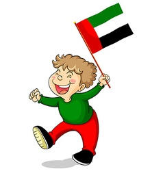 Arab Emirates flag and happy boy vector