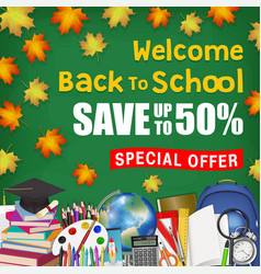 autumn leaf back to school sale with student items vector image