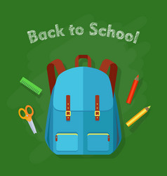 back to school blue backpack with two pockets vector image